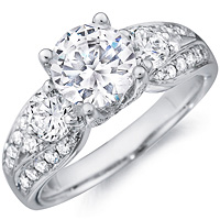Lourdes round-cut diamond ring with diamond accents and diamond band by Eternity (1.02 ctw.)