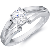 Paulette diamond solitaire with split gold band by Eternity
