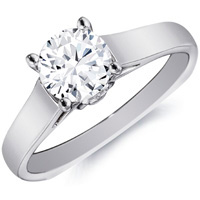 Adele Diamond Solitaire with Flat-Faced Band by Eternity (.08 ctw.)