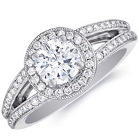 Esther Round-Cut Diamond with Diamond Accents and Split Shank by Eternity (.36 ctw.)