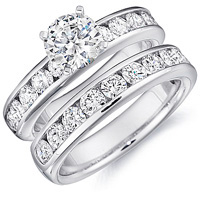 Sage Channel Set Engagement Ring and Band Set by Eternity (1.00 ctw.)