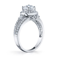 Halo Split Shank Diamond Ring With Baguettes (.56 ctw.)