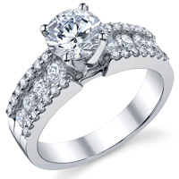 Kirsten Three Row Pave Engagement Ring