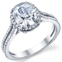 Joelle Oval Halo Engagement Ring With Split Shank
