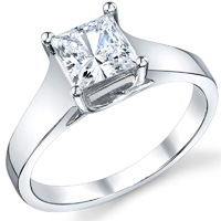 Delilah Wide Princess Solitaire Engagement Ring