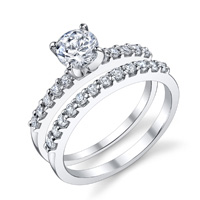 Adriana Prong Set Engagement Ring and Matching Band