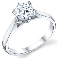 Six Prong Solitaire Cathedral Ring