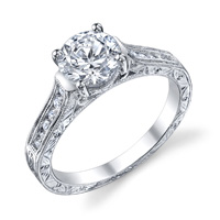 Augusta Channel Set Diamond Ring With Scroll Work