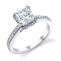 Jessica Princess Cut Ring With Diamond Studded Prongs (.42 ctw.)