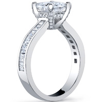 Channel Set Princess Cut Ring With Diamond Studded Basket