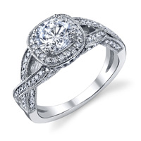 Claudia Twisted Band & Diamond Halo Ring With Milgrain (.38 ctw.)