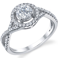 Crossover Pave Halo Ring