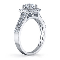 Taylor Pave Round Cut Diamond Ring With Cushion Halo (.52 ctw.)