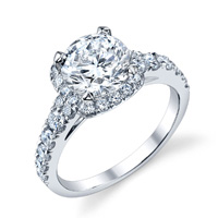 Sheila Cushion Halo With Round Cut Diamond Ring