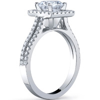 Princess Cut Halo Ring With Split Shank
