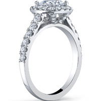 Cathedral Halo Ring With Diamond Studded Basket